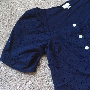 A New Day Navy Blue Button Down Blouse XS
